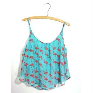 Flamingo Flowy Layered Crop Top • Women's Large